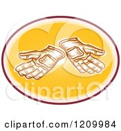 Clipart Of A Retro Pair Of Gloves In A Sunny Oval Royalty Free Vector Illustration