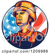 Retro Military Soldier Over An American Flag Circle
