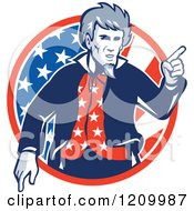 Clipart Of A Retro Uncle Sam Pointing Over An American Flag Circle Royalty Free Vector Illustration