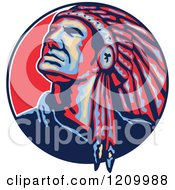 Clipart Of A Native American Indian Chief In A Feathered Headdress Looking Up In A Circle Royalty Free Vector Illustration