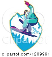 Clipart Of A Retro Snowboarder Catching Air Over Mountains Royalty Free Vector Illustration