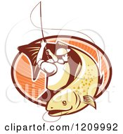 Clipart Of A Retro Trout Fisherman Reeling In A Fish Over An Oval Of Rays Royalty Free Vector Illustration