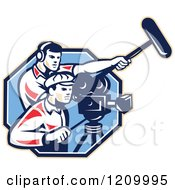 Clipart Of A Retro Camera Man Team With Gear Royalty Free Vector Illustration