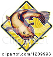 Clipart Of A Retro Ray Finned Catfish Over A Sun Burst Diamond Royalty Free Vector Illustration by patrimonio