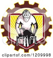 Clipart Of A Retro Male Cyclist Riding Over A Gear Shield Of Rays Royalty Free Vector Illustration