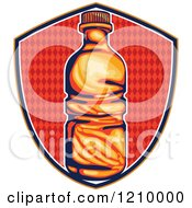Clipart Of A Retro Water Or Soda Bottle Over A Diamond Patterned Shield Royalty Free Vector Illustration