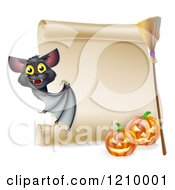 Cartoon Of A Vampire Bat With A Halloween Scroll Sign A Broomstick And Pumpkins Royalty Free Vector Clipart by AtStockIllustration