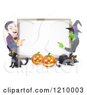 Cartoon Of A Happy Vampire Witch Pumpkins And Black Cats Around A Blank Sign Royalty Free Vector Clipart by AtStockIllustration