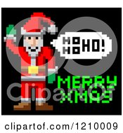 Cartoon Of A Retro Pixelated Santa And Merry Xmas Text Royalty Free Vector Clipart