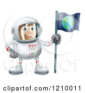 Cartoon Of A Happy Astronaut Man With An Earth Flag Royalty Free Vector Clipart