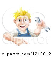 Poster, Art Print Of Happy Mechanic Man Holding A Wrench And Pointing Down To A Sign