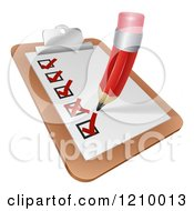 Cartoon Of A Pencil Checking Of A Survey Check List Royalty Free Vector Clipart by AtStockIllustration