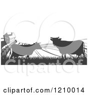 Clipart Of A Brown Silhouetted Farm House With Cows And Fields Royalty Free Vector Illustration by AtStockIllustration