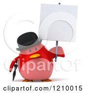 3d Chubby Red Bird Wearing A Bowler Hat And Holding A Sign