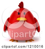 Clipart Of A 3d Chubby Red Bird Royalty Free CGI Illustration by Julos