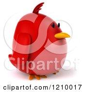 3d Chubby Red Bird Facing Right