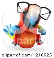 Clipart Of A 3d Bespectacled Macaw Parrot Running Royalty Free CGI Illustration