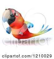 Clipart Of A 3d Bespectacled Macaw Parrot Running 3 Royalty Free CGI Illustration