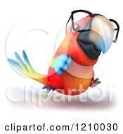 Clipart Of A 3d Bespectacled Macaw Parrot Running 2 Royalty Free CGI Illustration