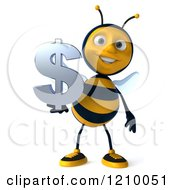 Clipart Of A 3d Bee Holding A Dollar Symbol Royalty Free CGI Illustration