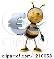 Clipart Of A 3d Bee Holding A Euro Symbol Royalty Free CGI Illustration