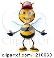 Clipart Of A 3d Bee Wearing A Hat Royalty Free CGI Illustration