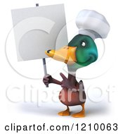 Clipart Of A 3d Mallard Duck Chef Holding And Pointing To A Sign Royalty Free CGI Illustration