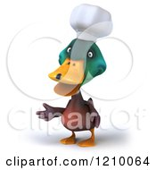 Clipart Of A 3d Mallard Duck Chef Presenting Royalty Free CGI Illustration