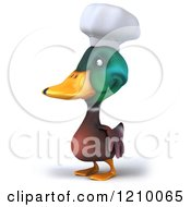 Clipart Of A 3d Mallard Duck Chef Facing Left Royalty Free CGI Illustration