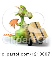 Clipart Of A 3d Green Dragon Pushing Boxes On A Hand Truck Dolly 2 Royalty Free CGI Illustration
