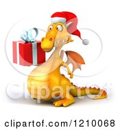 3d Yellow Christmas Dragon Holding A Present