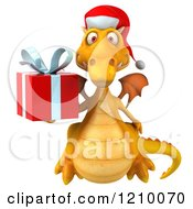 3d Yellow Christmas Dragon Holding A Present 3