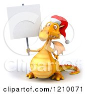 3d Yellow Christmas Dragon Holding A Sign