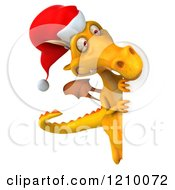 3d Yellow Christmas Dragon Looking Around A Sign