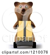 Clipart Of A 3d Bear Pushing Boxes On A Hand Truck Dolly Royalty Free CGI Illustration