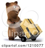 Clipart Of A 3d Bear Pushing Boxes On A Hand Truck Dolly 2 Royalty Free CGI Illustration