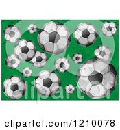 Textured Soccer Balls On Green