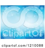 Clipart Of A Blue Snowflake Background With Flares Royalty Free Vector Illustration