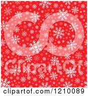 Clipart Of A Seamless Background Of White Snowflakes On Red Royalty Free Vector Illustration