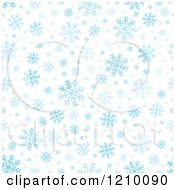 Clipart Of A Seamless Background Of Blue Snowflakes On White Royalty Free Vector Illustration
