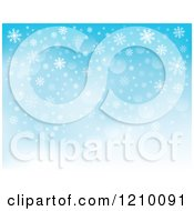 Clipart Of A Blue Snowflake Background With Flares 2 Royalty Free Vector Illustration