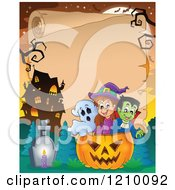 Cartoon Of A Ghost Witch And Vampire In A Halloween Jackolantern Pumpkin Over A Haunted House And Scroll Royalty Free Vector Clipart