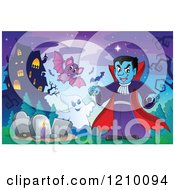 Cartoon Of A Vamprire Ghost And Bat Against A Full Moon And Haunted House Royalty Free Vector Clipart