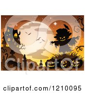 Cartoon Of A Cat Scarecrow And Halloween Jackolanterns Against A Full Moon And Haunted Mansion Royalty Free Vector Clipart