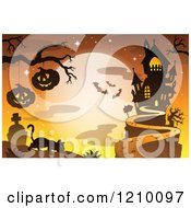 Cartoon Of A Stalking Cat Under Jackolanterns Against A Full Moon And Haunted House Royalty Free Vector Clipart