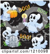 Cartoon Of A Seamless Halloween Ghost And Bat Pattern Royalty Free Vector Clipart