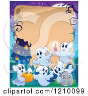 Cartoon Of A Halloween Scroll Ghosts A Pumpkin Tombstone And Haunted House Royalty Free Vector Clipart