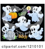 Cartoon Of Halloween Ghosts And Bats On Black Royalty Free Vector Clipart