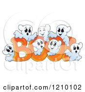 Cartoon Of The Word Boo And Ghosts Royalty Free Vector Clipart by visekart