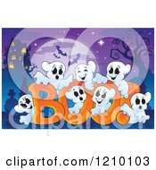 Cartoon Of The Word Boo And Ghosts Over A Full Moon And Haunted House Royalty Free Vector Clipart